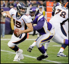 Tim Tebow against the Minnesota Vikings on 12/04/11
