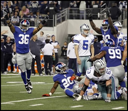 Giants block last second FG attempt by Cowboys on Sunday night, December 11th