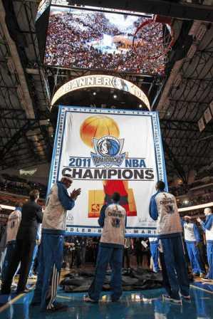 The Mavs Championship Banner