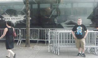 J.D. Cook in front of a nifty bus!