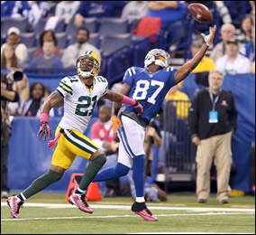 Reggie Wayne against the Packers