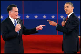 Romney and Obama at the second debate